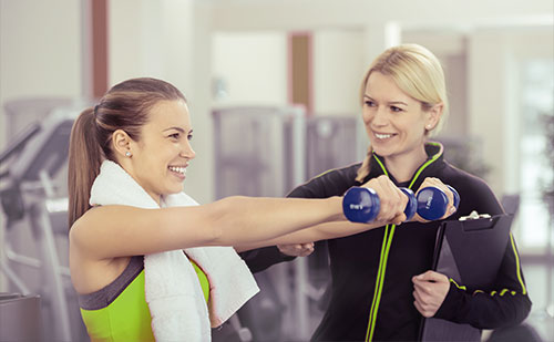 Onsite personal trainers, fitness center at work